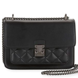 Neiman Marcus Black Calf Leather Quilted Bag